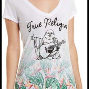 True Religion Tops - True Religion White T-Shirt Top Tropical Paradise